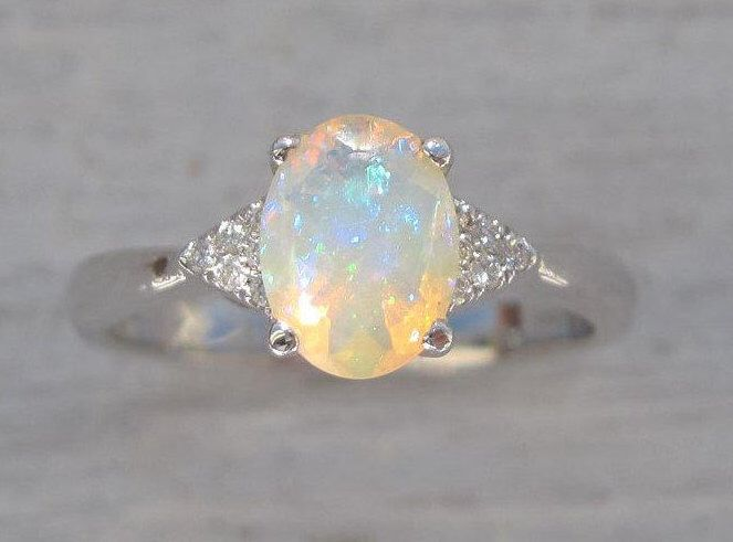 Opal Engagement Ring, Antique Style Engagement Opal Ring, Vintage Opal Ring, Bridel Gold Ring, Opal Gold Ring, Engagement Ring With Opal by Benati on Etsy https://www.etsy.com/listing/505508367/opal-engagement-ring-antique-style