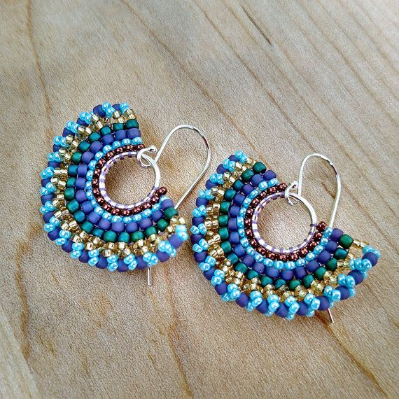 Reserved for Boxsprings - Purple Fan Earring, Small Beaded Silver Hoops, Green and Blue Accents
