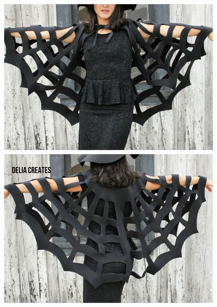 No-Sew Halloween Spiderweb Cape TUTORIAL (the kids version is adorable too!!) Delia Creates