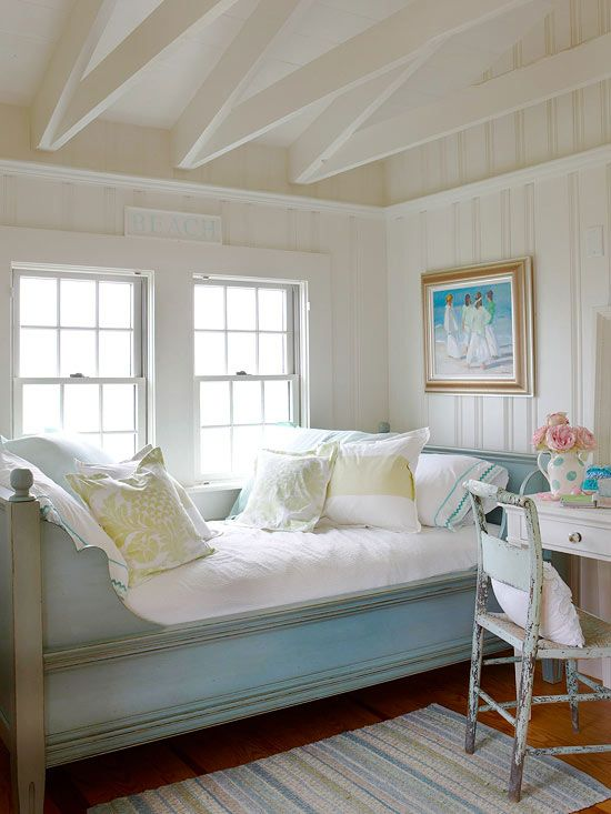window would make a perfect spot for relaxing and reading after a day  at the beach  Light and airy colors make this room perfect for a coastal  cottage 167 best Daybeds images on Pinterest   Daybeds  Cottage style and  . Cottage Style Bedrooms. Home Design Ideas
