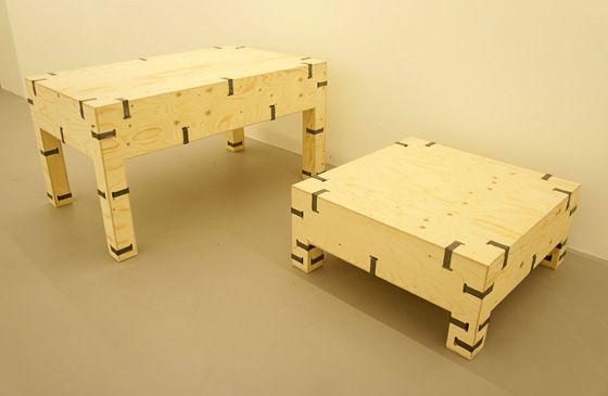 Furniture from Oskar Zieta's PAKIET range of modular wooden furniture. Photos © Le Vin Chin