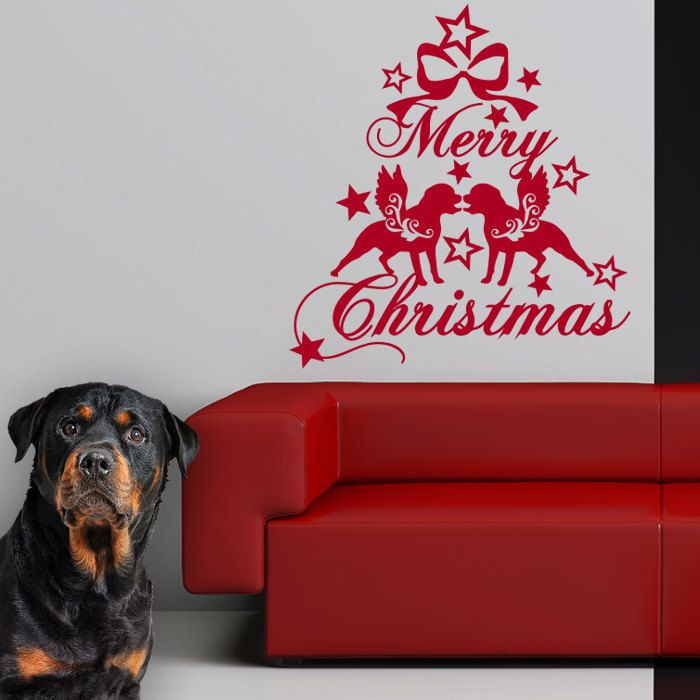 Rottweiler Christmas Dog Wall Decal , Dogs Angels - Good for Walls, Cars, Ipads, Mirrors Etc by PSIAKREW on Etsy