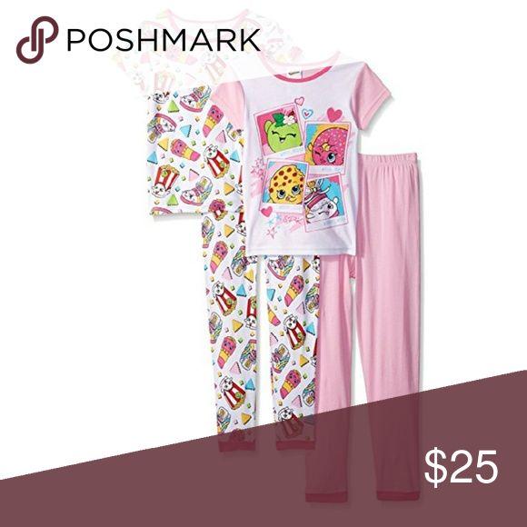 Shopkins Girls Keep Shopping 4 Piece Pajama Set Set includes 2 shirts and 2 pants. shopkins  Pajamas Pajama Sets