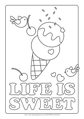 Life is sweet bird and ice cream cone coloring page