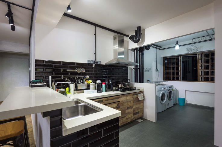 Hdb 5 Room Resale Industrial Design Open Kitchen Concept Bayti Design Pte Ltd Id Pinterest