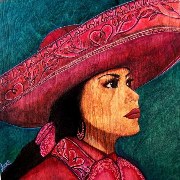 Ana by Anna Alvarado. Anna creates her beautiful works of art on wood panels rather than on a traditional canvas and uses Sharpie markers. She is an ER grad.