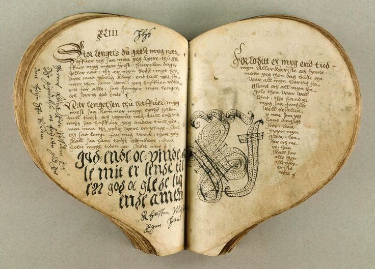 The Heart Book, Denmark, c. 1550 (via)                    The Heart Book is regarded as the oldest Danish ballad manuscript. It is a collection of 83 love ballads compiled in the beginning of the 1550's in the circle of the Court of King Christian III. Shown above is the beginning of ballad no. 43, Store længsel, du går mig nær (Great Yearning, thou touches me).: Oldest Danish, Ballads Compiled, Heartbook, Heart Book, Danishes, Danish Ballad, Ballad Manuscript