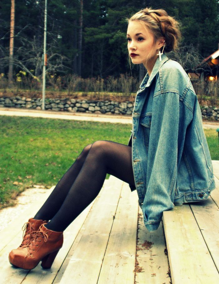 Leggings, stivali e giacca di jeans - Leggings, boots and jeans jacket