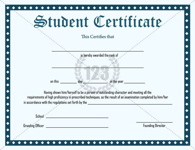 Student certificate template certificate template for Student of the year award certificate templates