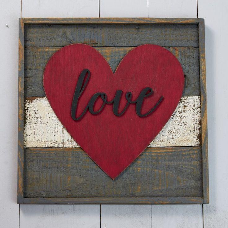 "13"" Framed Pallet Canvas - Love Heart"