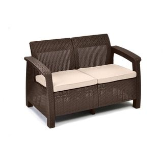 Shop for Keter Corfu Brown Resin All Weather Outdoor Cushioned Love Seat. Get free delivery at Overstock.com - Your Online Garden