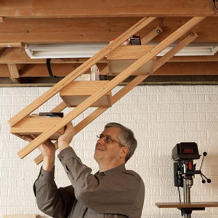 Overhead Swing-down Shop Storage Woodworking Plan, Workshop & Jigs Shop Cabinets, Storage, & Organizers #WoodworkingPlans