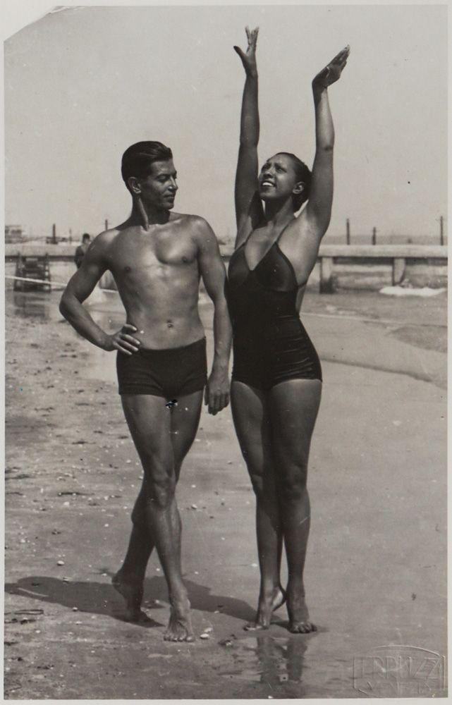 Josephine Baker and the legendary Russian ballet dancer Serge Lifar on the beach, France, 1930s.