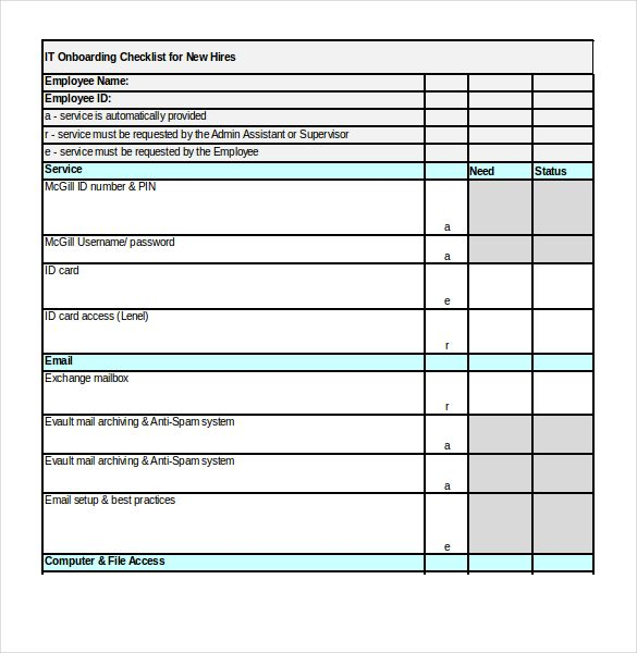 Onboarding Checklist Templates 17 Free Word Excel Pdf