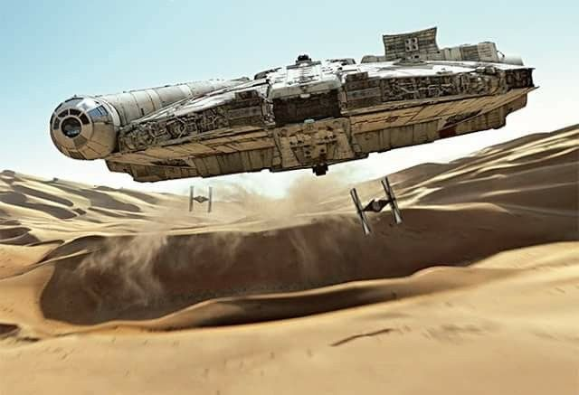 The Millennium Falcon vs. First Order TIE-fighters