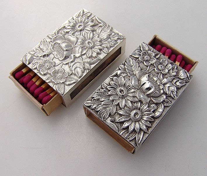 Silver Repousse Match Box Covers
