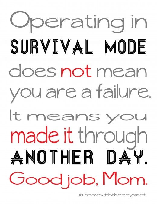 This has pretty much been my whole weekend. Survival Mode {free printable for moms!}