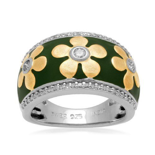 Sterling Silver Enamel Flower Diamond Ring (1/4 cttw, I-J Color, I2-I3 Clarity) Amazon Curated Collection. $125.00. The total diamond carat weight listed is approximate. Variances may be up to .05 carats.. Made In India. All our diamond suppliers certify that to their best knowledge their diamonds are not conflict diamonds.