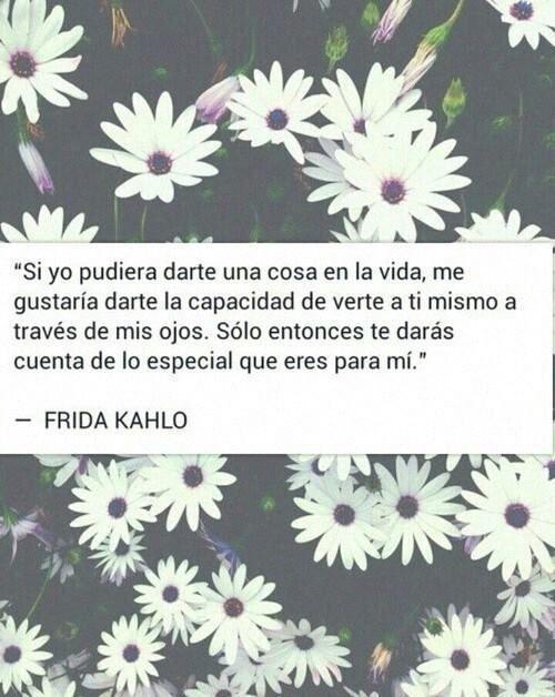 """""""Si yo pudiera darte una cosa en la vida, me gustaría darte la capacidad de verte a ti mismo a través de mis ojos. Solo entonces te daras cuenta de los especial que eres para mi."""" Frida Kahlo."""