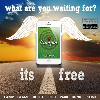 FREE Directory app of over 6000 spots to camp, glamp, ruffit, park, rest, bunk & plonk.  All over Australia.  If you are going camping you should get this free app Campin Australia