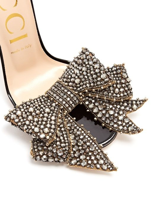 Gucci Crystal-embellished detachable-bow leather sandals