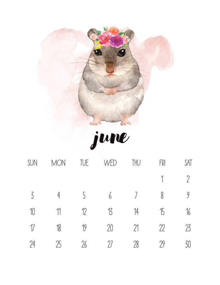 Бесплатный календарь для печати 2018 Акварельный календарь для животных - Коттеджный рынок