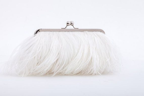 Ostrich Feather Clutch - White – Sweet Heart Details Bridal clutch, bridal bag, feather clutch, wedding accessories
