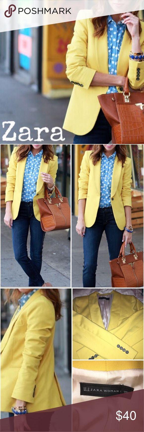 "Zara Sunny Yellow Blazer Perfect for all seasons! Zara blazer in sunny yellow. Shawl collar, beaded pockets, single button, and back vent. Great with jeans or dress up for work! Fully lined in off-white. Great for a little contrast when rolling up your sleeves! Worn once. Length 27"". Sleeve length 24"". Bust 17"". Zara Jackets & Coats Blazers"