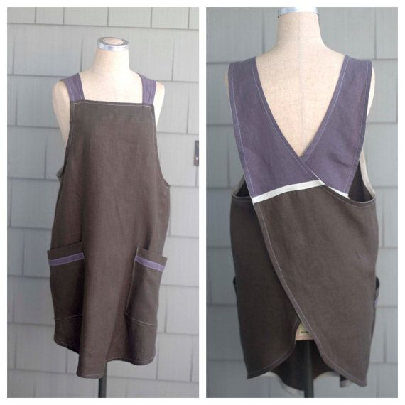Cross Back Apron  European Linen  Japanese by WillowontheWater