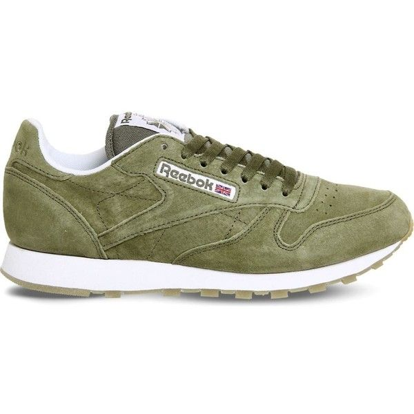 REEBOK Classic lace-up suede trainers ($80) ❤ liked on Polyvore featuring men's fashion, men's shoes, men's sneakers, mens suede lace up shoes, mens perforated shoes, mens running shoes, mens running sneakers and mens green shoes