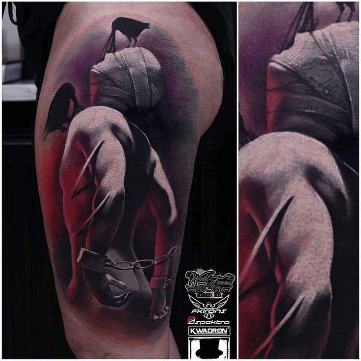 artistic prisoner tattoo 3D on thigh