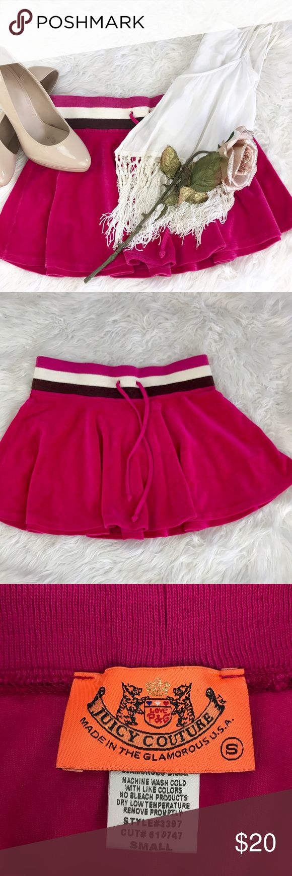 """💕SALE💕Juicy Couture Pink Velvet Mini Skirt Amazing Super Soft Juicy Couture Pink Velvet Mini Skirt 13"""" from the top of the Skirt to the bottom 28"""" Elastic Band Waist Juicy Couture Skirts Mini"""
