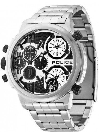 Police Python Stainless Steel Chronograph Silver and Black Bracelet Watch 13595JS-04M