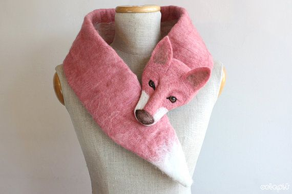 Fox Pink de Luxe felted wool animal scarf by celapiu on Etsy