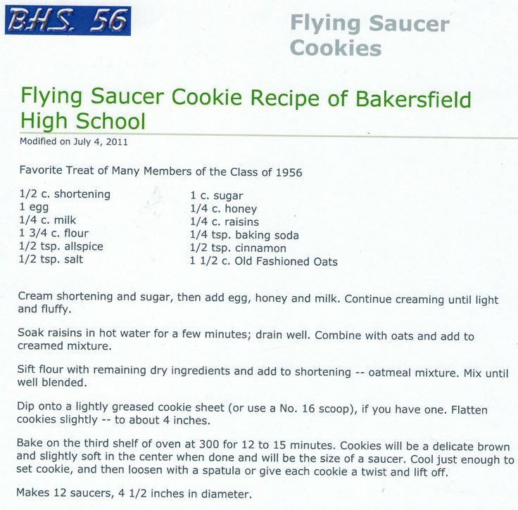 Image result for arvin high school recipe for fly saucer cookies