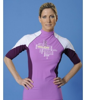 T-shirt anti UV pour femme Mayoparasol, collection Made4sun. Manches 3/4, couleur mauve, violet et blanc.