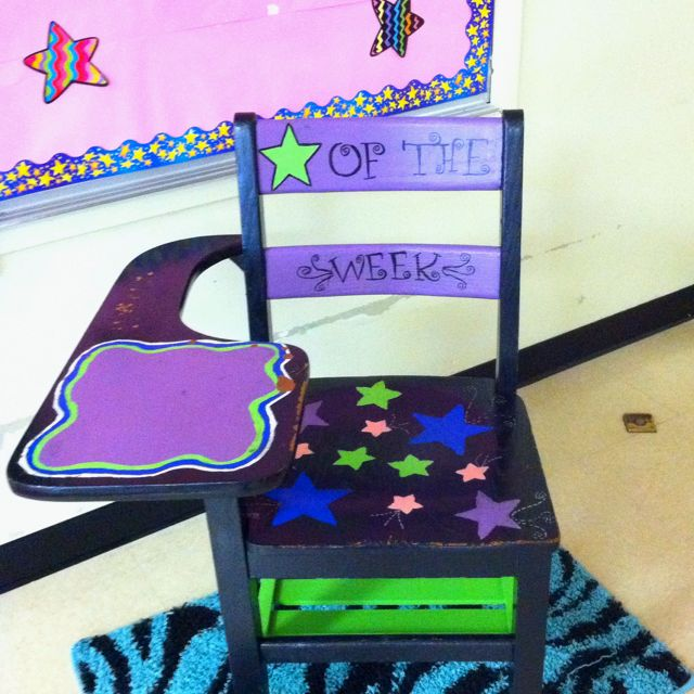 Star of the week chair: Awesome idea to promote students to have good behavior. Motivates them to learn and do good actions that way they get to sit in the special chair!