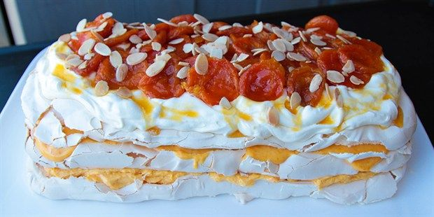 Dried Apricot Pavlova  recipe by Chef Maggie Beer. This recipe is from the show The Great Australian Bake Off.