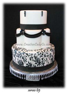 wedding cake with black vertical stripes | ... petal wedding cake with black damask embossing by Creative Cake Co