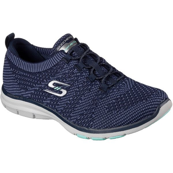 Skechers Women's Galaxies Navy - Skechers Athletic Sneakers ($70) ❤ liked on Polyvore featuring shoes, sneakers, navy, stretch shoes, navy blue shoes, galaxy shoes, navy slip on sneakers and skechers sneakers