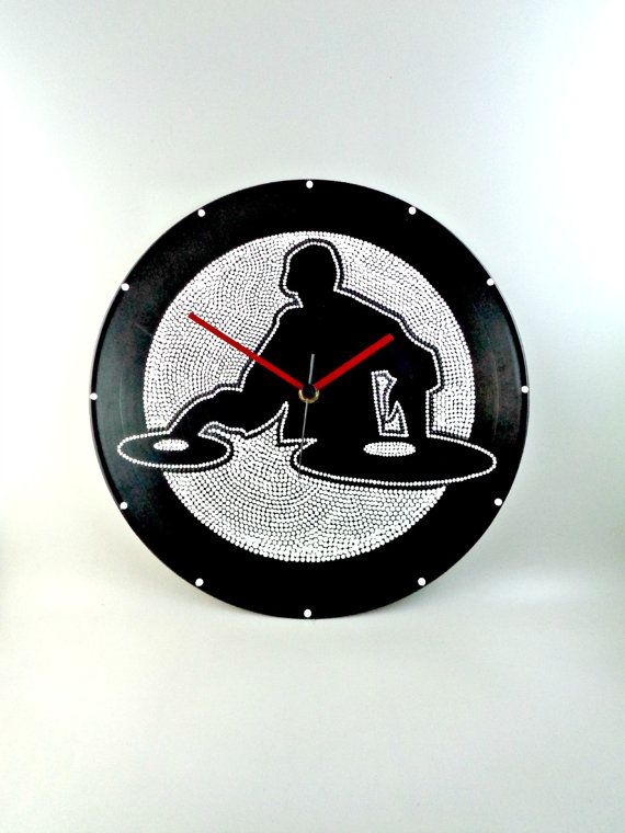 DJ Vinyl Clock Hand Painted Black & White by InsaneDotting on Etsy