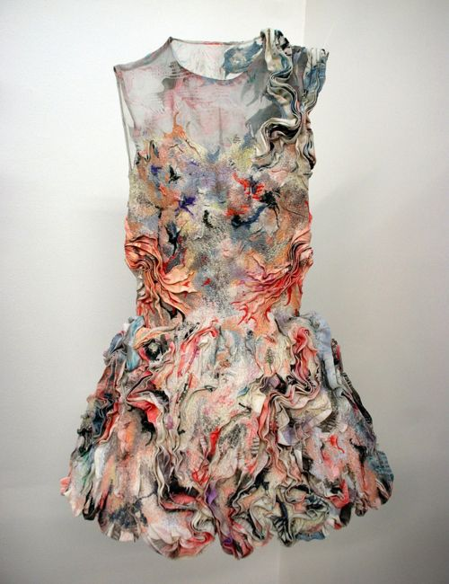 "workman: rustybreak: Marit Fujiwara. ""To create a sculptural fabric, I am experimenting with the printing technique of marbling; combining embroidery, bonding and pleating. Applying these fabrics into fashion creates unusual and intricate fashion garments."""