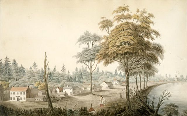 Detail from watercolour of York, Upper Canada (1804) by Elizabeth Frances Hale…
