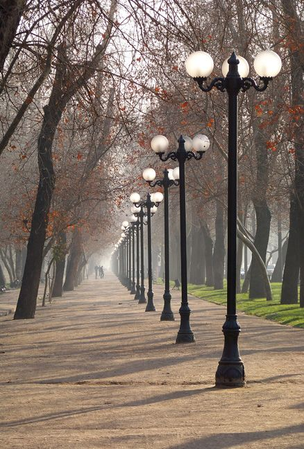 via www.mountainadventures.com Santiago, Chile. A quiet morning in Parque Forestal.
