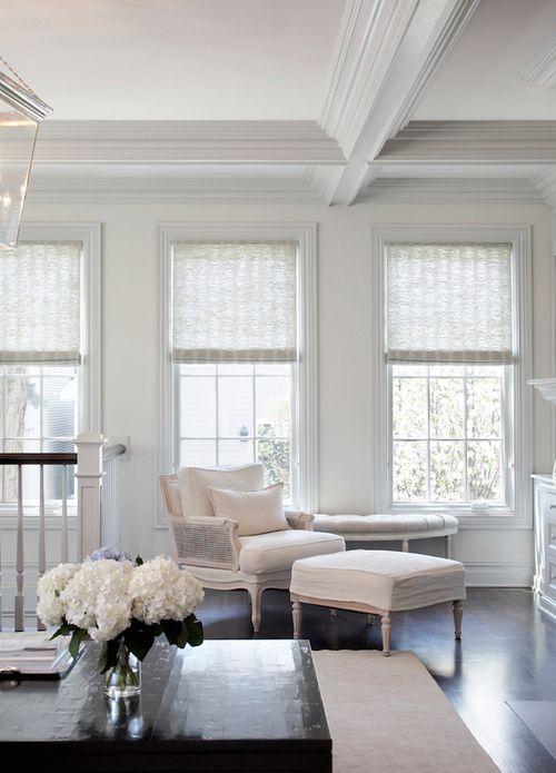 Love the dark floors and stark white everything else.