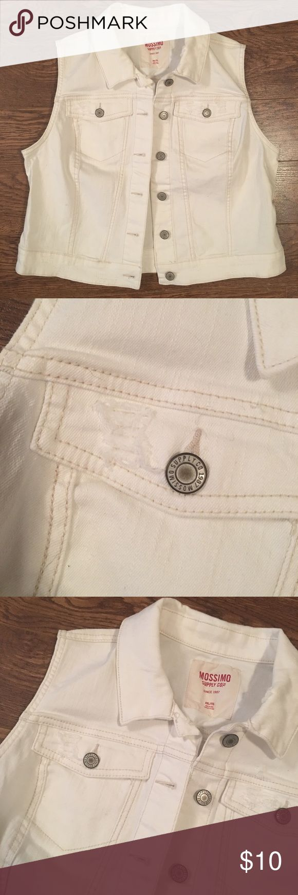 White Jean Vest White jean jacket vest. Has a couple of distressed places on the front as pictured! No stains or discoloring. Great condition! Mossimo Supply Co Jackets & Coats Vests