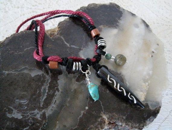 Collana di osso, bohemien gioielli boho gioielli hippie gioielli zingara gioielli gioielli tribali hipster boho etnico marocchino turchese collana