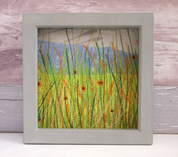 Original embroidery Grasses Hand-painted frame  by CarlyGilliatt