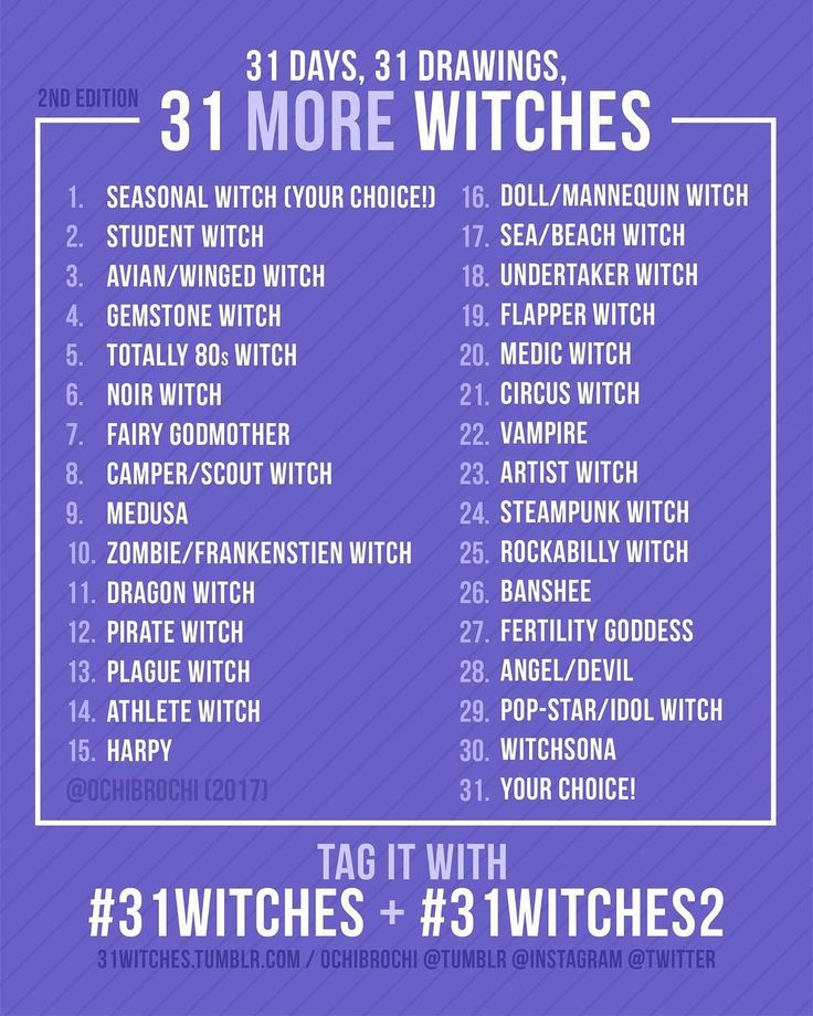 ✨Thank you for everyone's warm response from last year's 31witches, and everyone who has been asking for another list for 2017! I'm so happy to know that I can help people like this!!! I hope you enjoy the list!    Feel free to repost!!!! Please tag your posts with #31witches or #31witches2 !!  .  .  .  #31witches   #31witches2  #inktober  #inktober2017