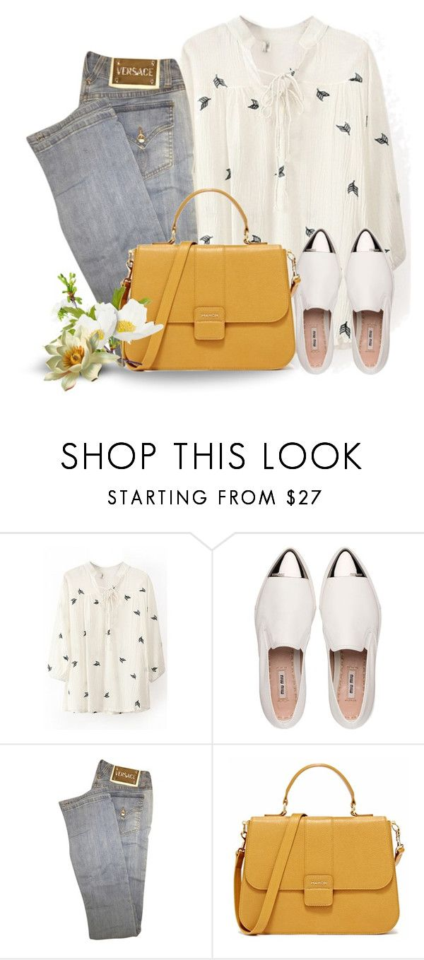 """""""Cálida primavera"""" by ale-zz ❤ liked on Polyvore featuring WithChic, Miu Miu and Versace"""